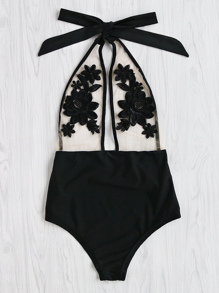 Schwimmanzug mit Blumenstickereien, Netz und Neckholder