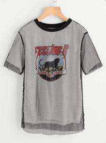 Tee-shirt imprimé de la figure à maille 2 en 1