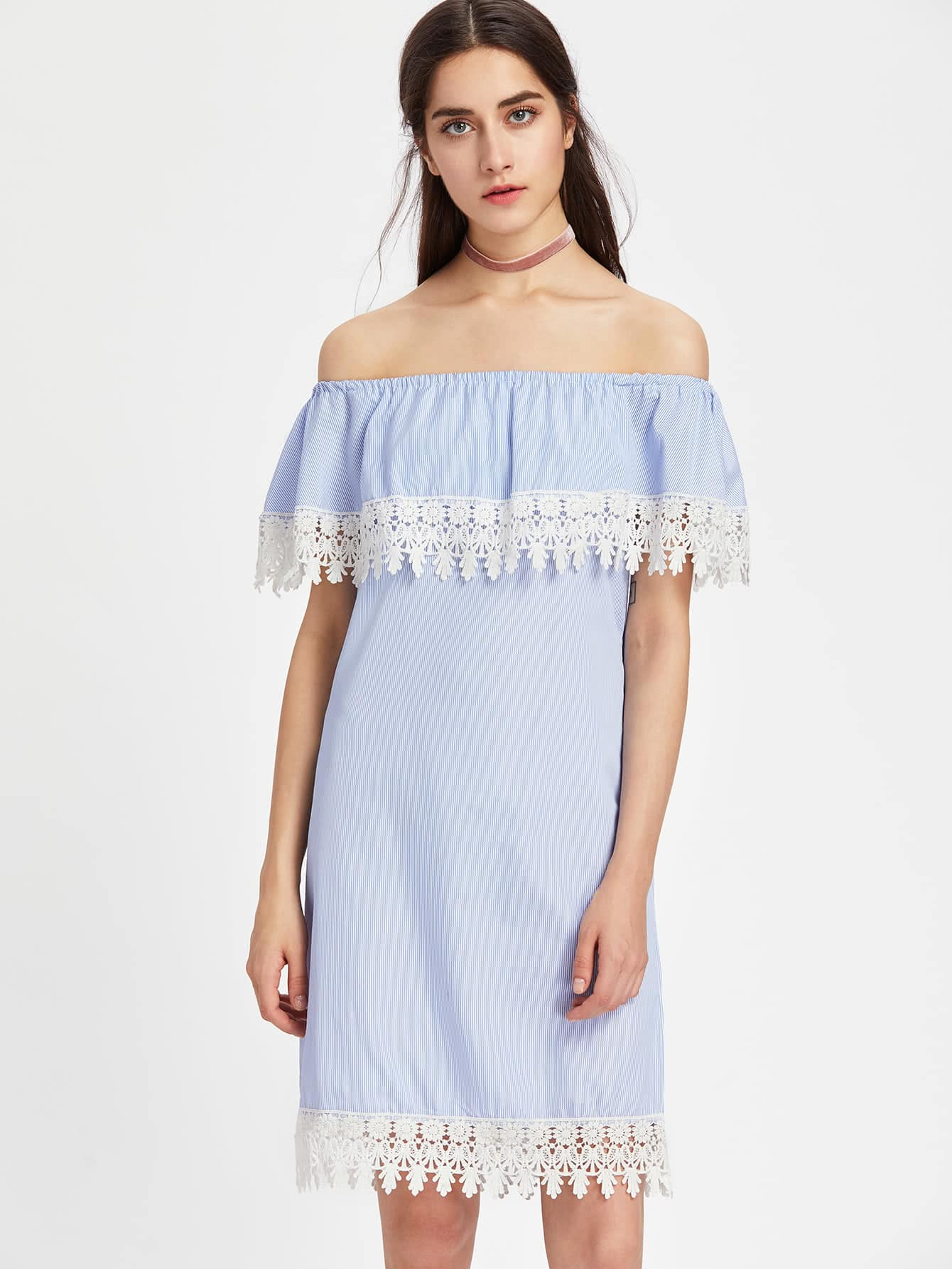 Flounce Layered Neckline Contrast Lace Trim Vertical Striped Dress maison jules new junior s small s pink combo lace crepe contrast trim dress $89