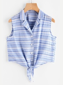 Revere Collar Knotted Striped Vest