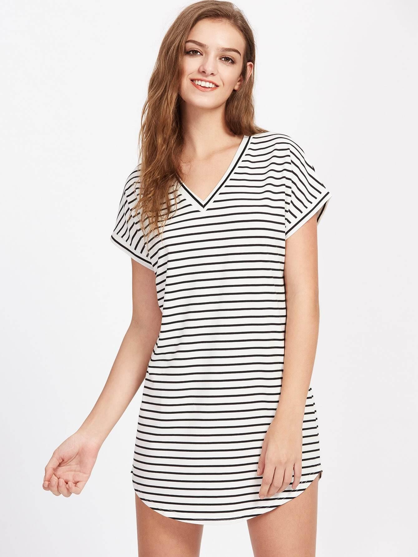 Фото V Neckline Striped Curved Hem Dress. Купить с доставкой