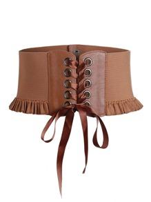 Ceinture corset découpée en dentelle avec des plis