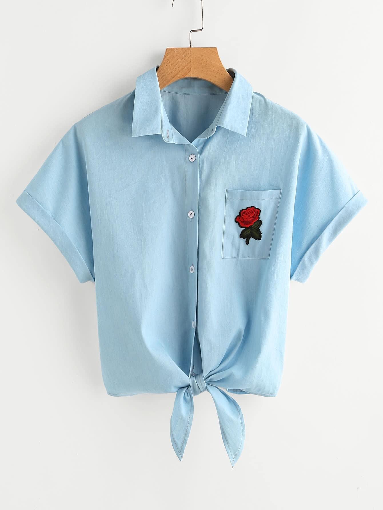 Фото Rose Patch Pocket Tie Front Cuffed Blouse. Купить с доставкой