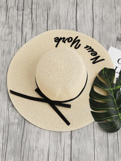 Bow Tie & Letter Pattern Straw Floppy Hat