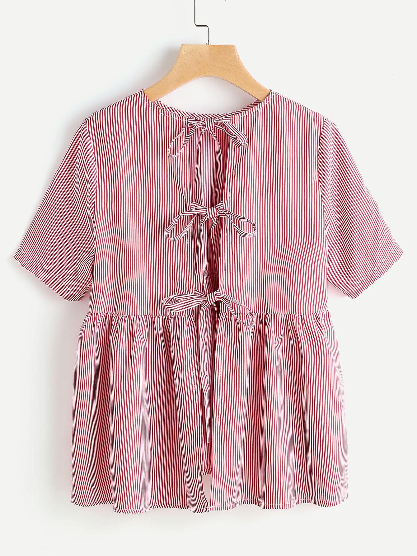 Split Bow Tie Back Striped Babydoll Top blouse170420703