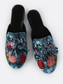 Embroidered Velvet Slip On Loafers
