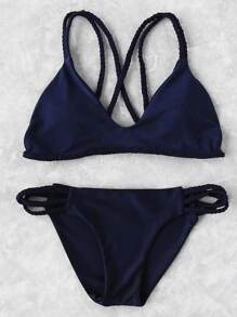Braided Strap Side Cutout Bikini Set