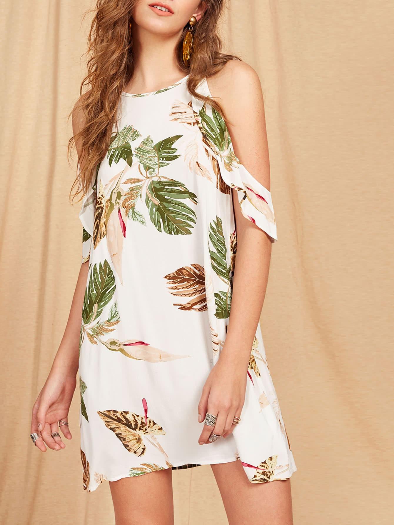 Фото Frill Cold Shoulder Keyhole Back Tropical Dress. Купить с доставкой