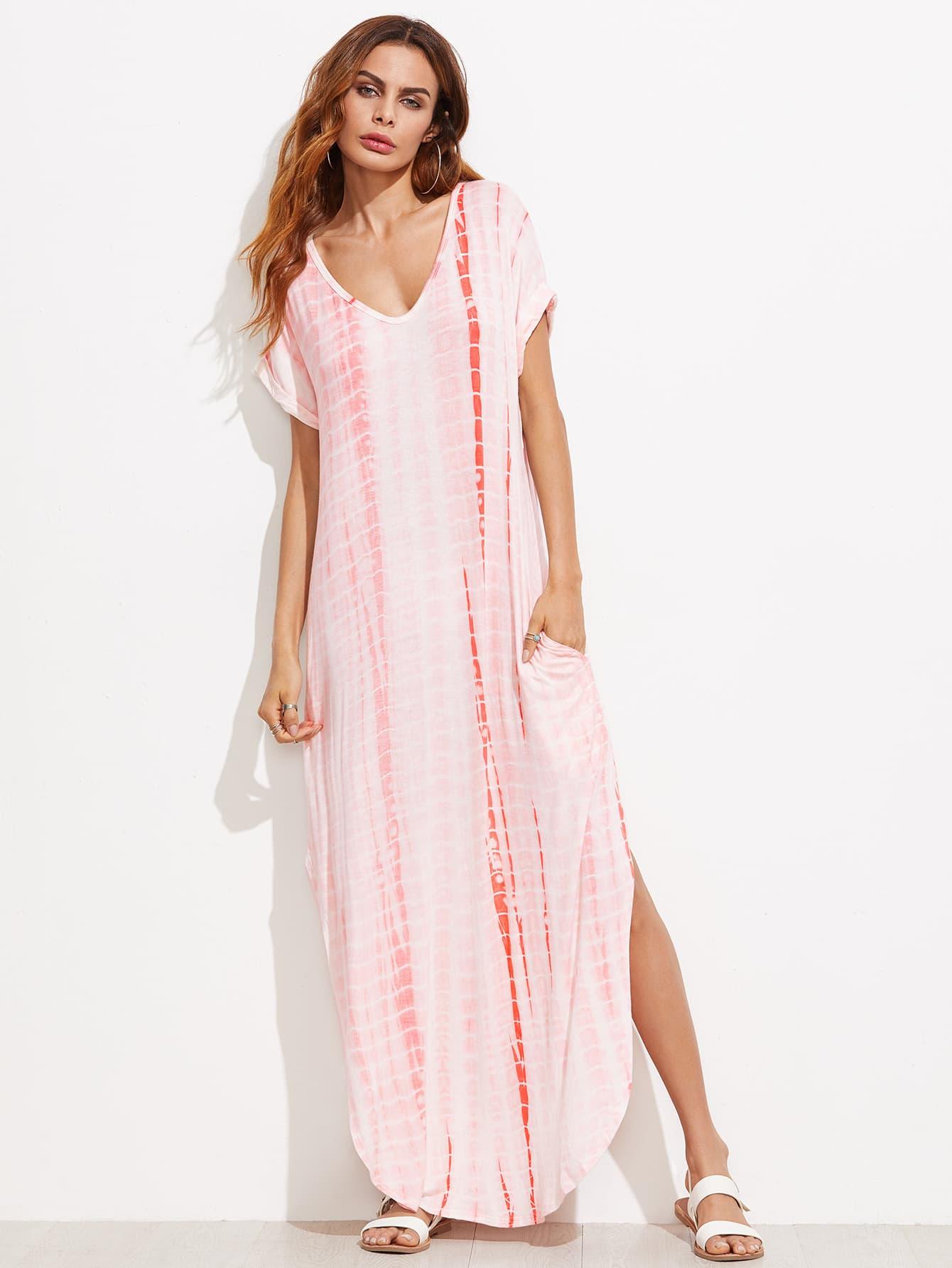 Tie Dye Print Dolphin Hem Tee Dress heather knit dolphin hem tee dress