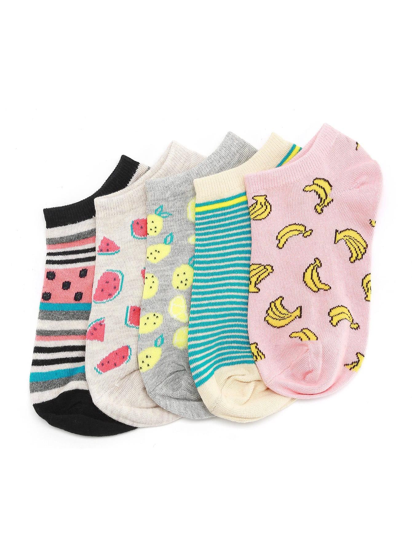 Фото Fruit Print And striped Ankle Socks 5 Pairs. Купить с доставкой