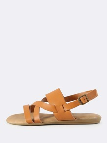 Open Toe Faux Leather Sandals TAN