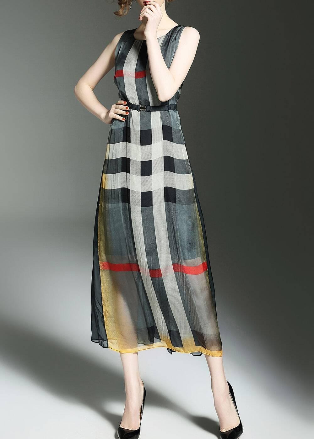 Фото Color Block Plaid Elastic-Waist Dress. Купить с доставкой