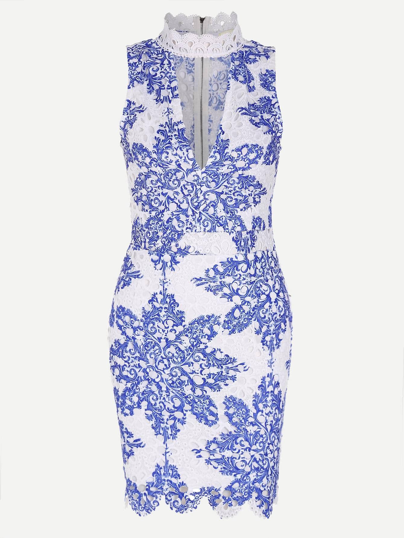Фото Band Collar Floral Zipper Back Dress. Купить с доставкой