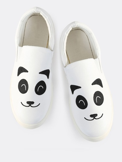 Faux Leather Panda Slip On Sneakers WHITE