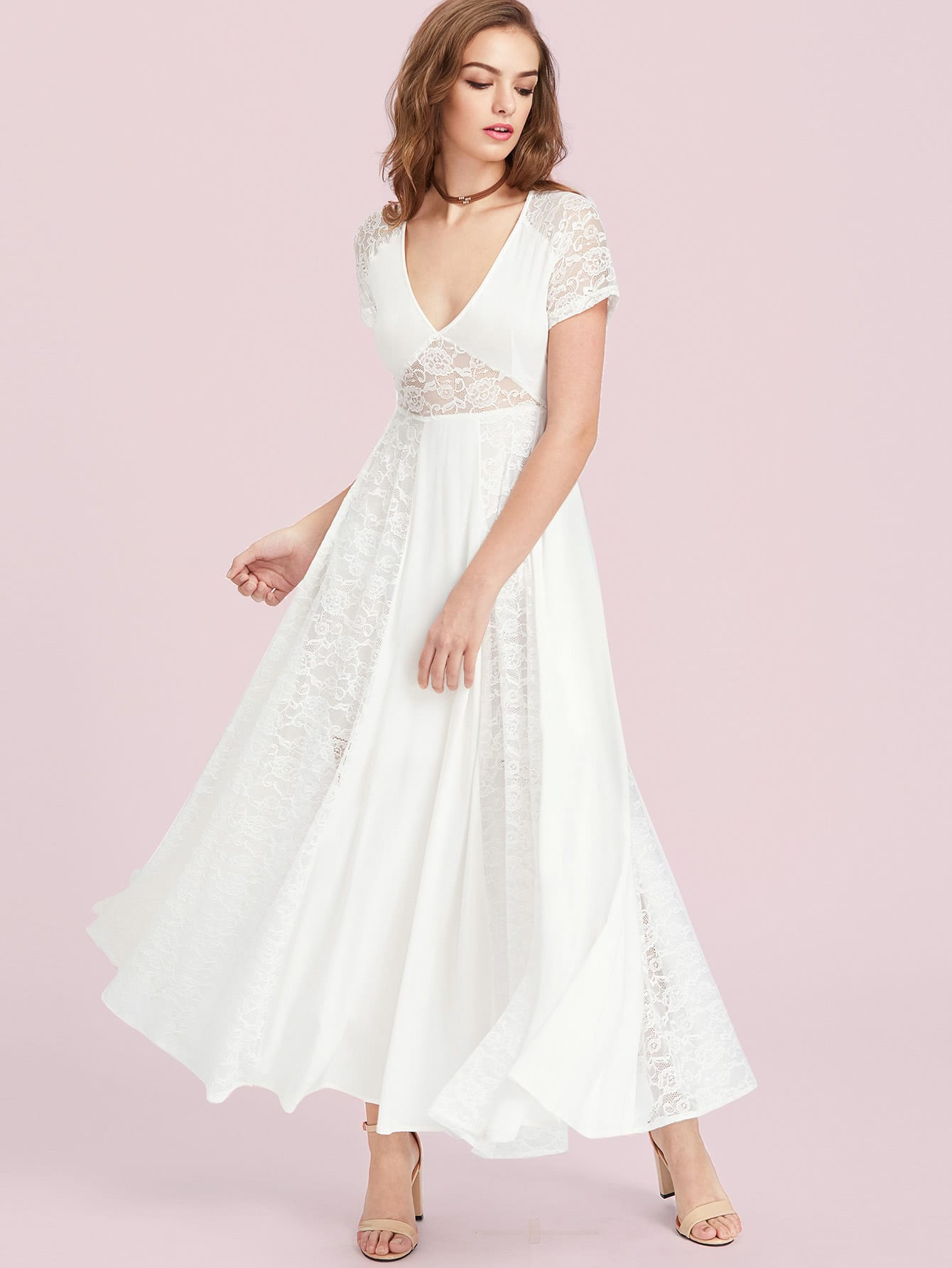 Raglan Sleeve Floral Lace Panel Peekaboo Dress dress170419454