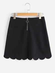 Exposed Zip Back Scallop Skirt