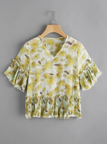 Leaves Print V-neckline Blouse With Pleated Frill