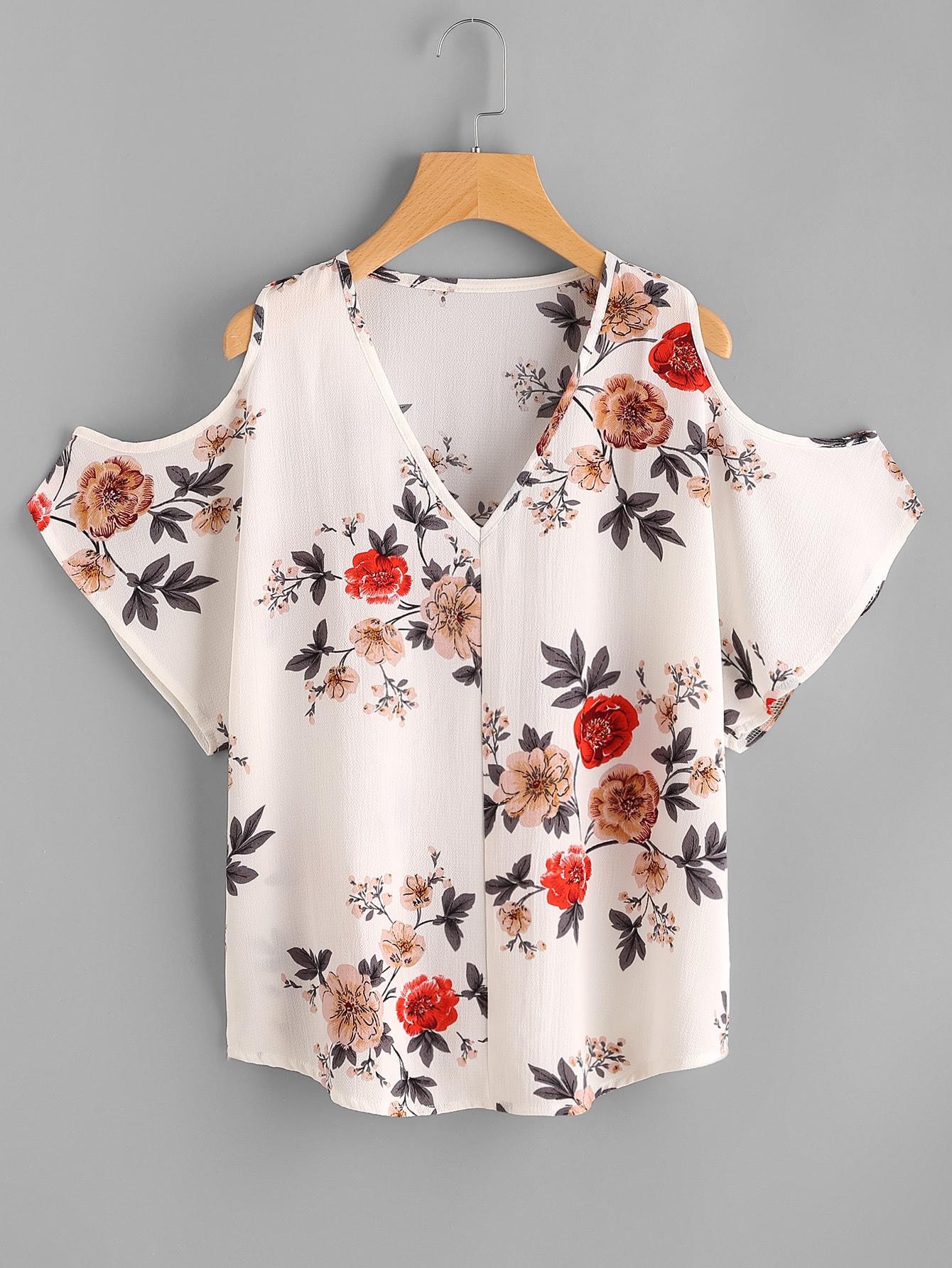 Купить Модный топ с открытыми плечами и V-образным вырезом, null, SheIn