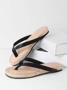 Sandales à fond plat tissé en PU