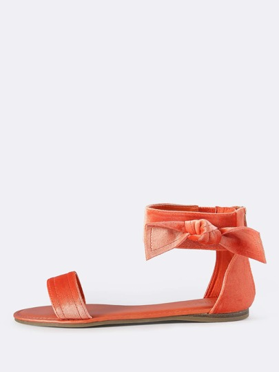 Velvet Side Bow Flat Sandals ORANGE