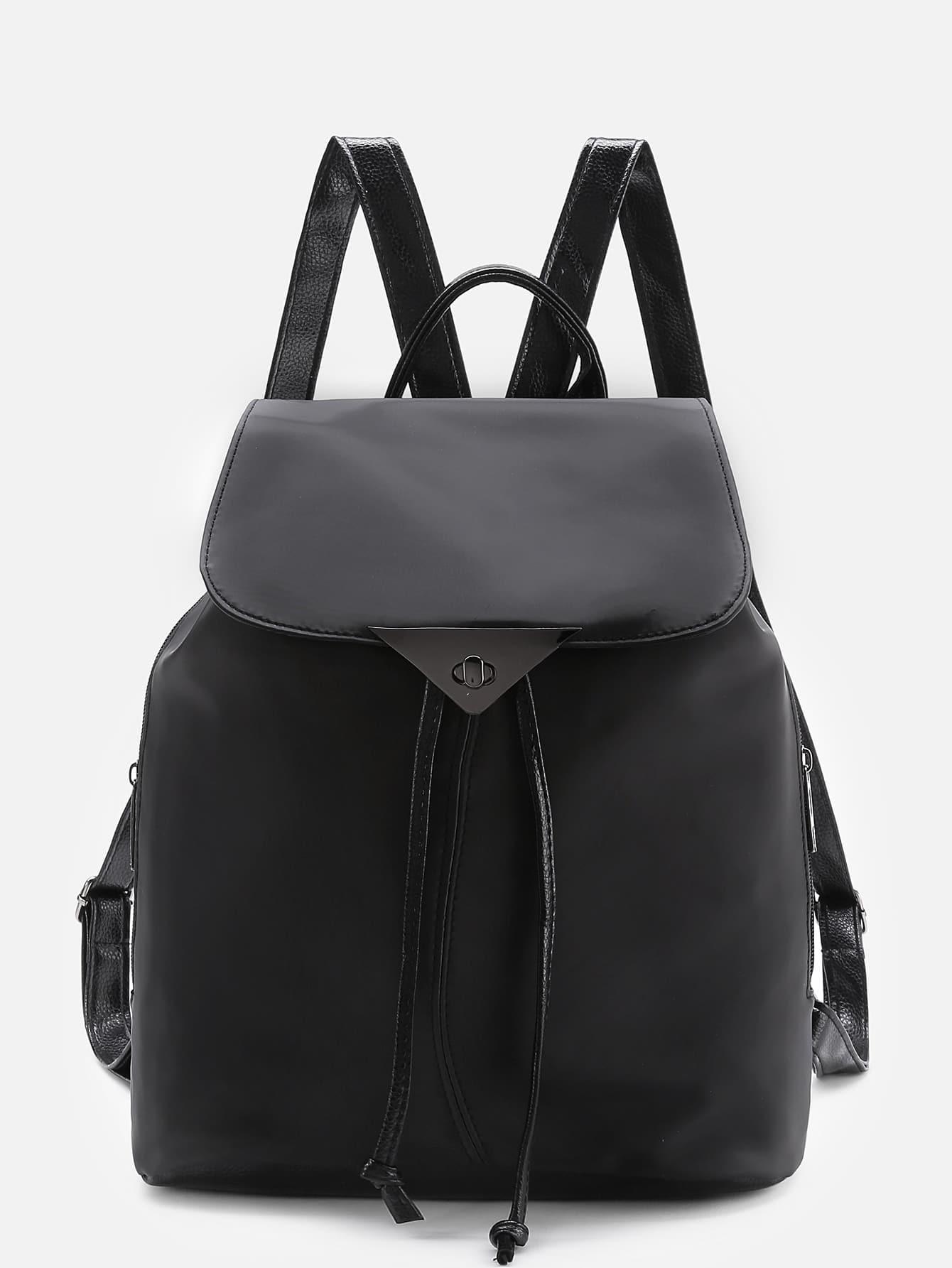 Twist Lock Detail PU Backpack