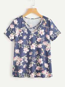 Tee-shirt col en V croisé imprimé fleuri