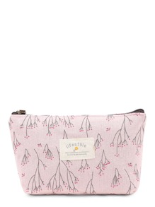 Graphic Print Zipper Makeup Bag