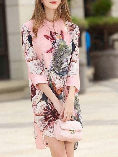Фото Flowers Print High Low Split Dress. Купить с доставкой