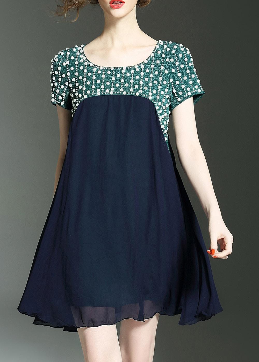 Фото Color Block Beading Shift Dress. Купить с доставкой