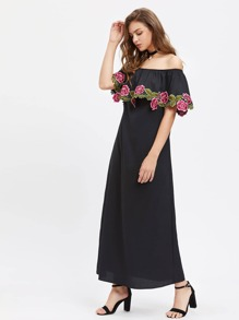 Embroidered Flower Applique Frill Off Shoulder Dress