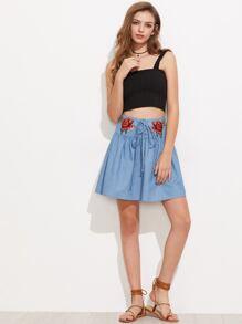 Symmetric Rose Patch Lace Up Drop Waist Skirt pictures