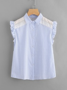 Pinstripe Embroidered Frill Cuff Top