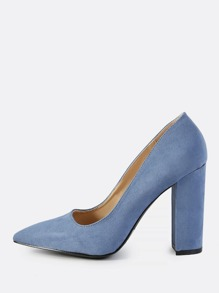 Faux Suede Closed Toe Chunky Heel SLATE