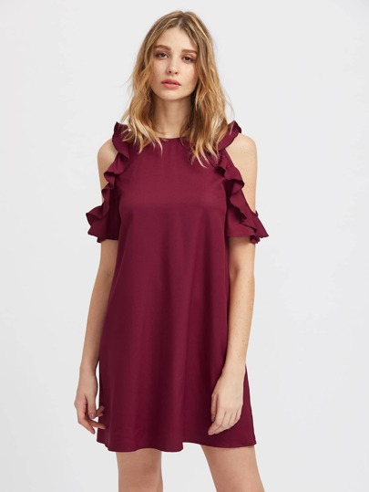 Buttoned Keyhole Back Frilled Open Shoulder Dress