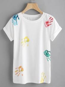 Palm Print Cuffed T-shirt