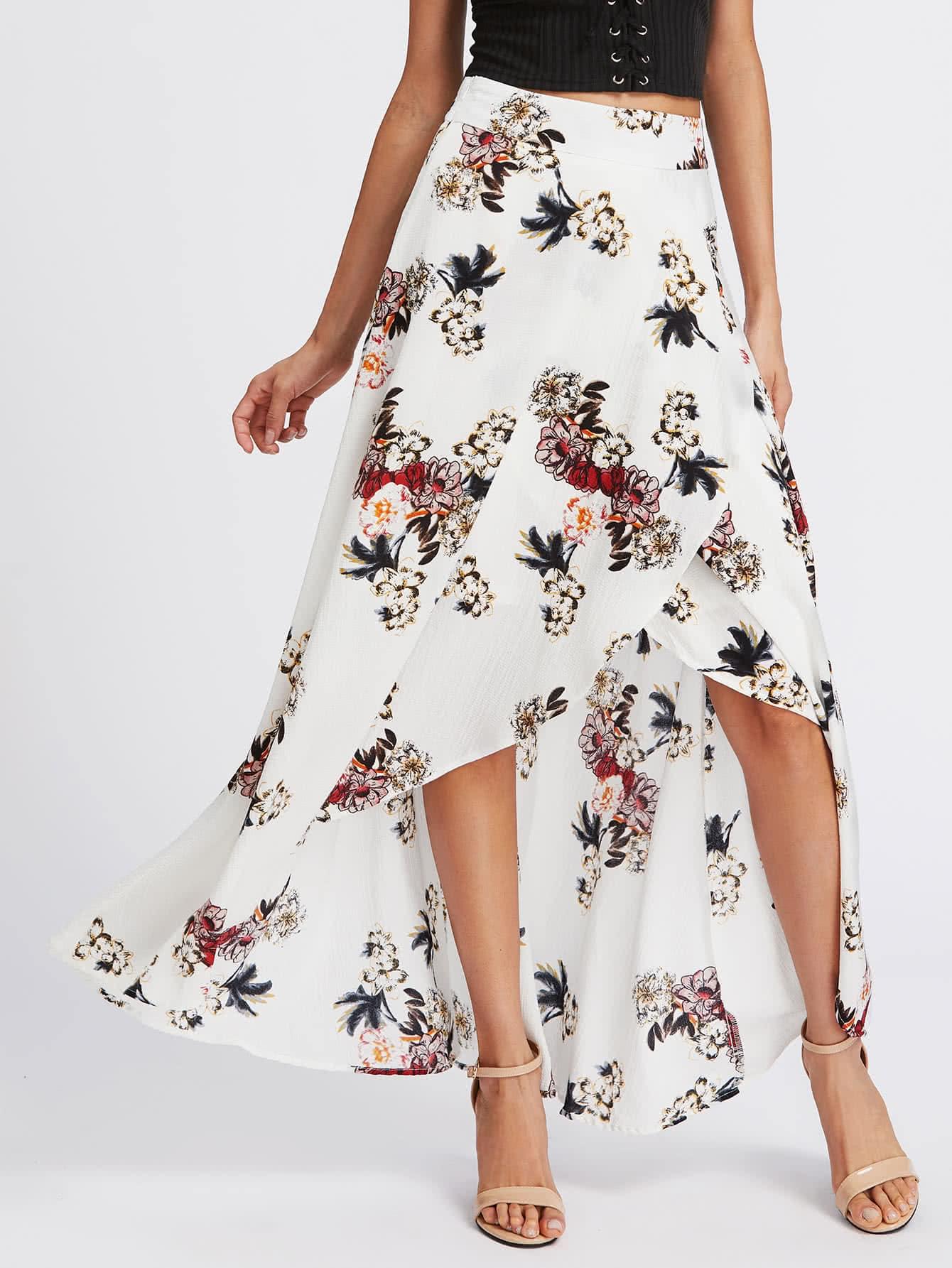 Фото Floral Print Overlap Skirt. Купить с доставкой