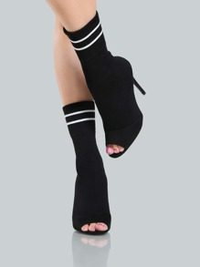 Sock Coloblock Heel Booties BLACK