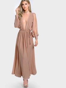 Arm Split Long Sleeve Maxi NUDE