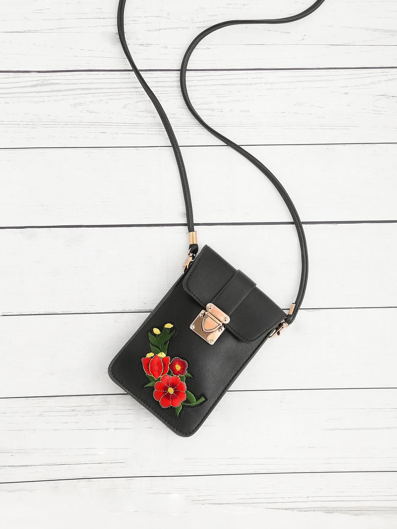 Фото Flower Embroidery PU Pouch Bag. Купить с доставкой