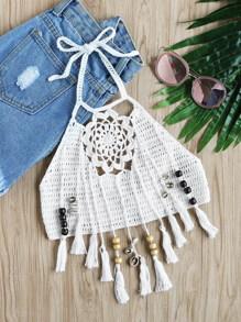 Beaded Tassel Trim Flower Crochet Halter Top