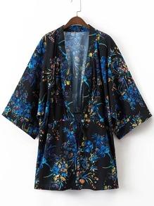 Kimono imprimé fleuri avec nœud