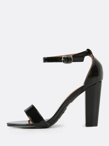 Ankle Strap Patent Heels BLACK