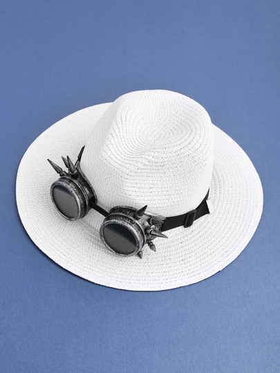 Punk Sunglasses Embellished Straw Fedora Hat