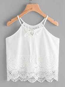 Scallop Lace Trim Drawstring Halter Top