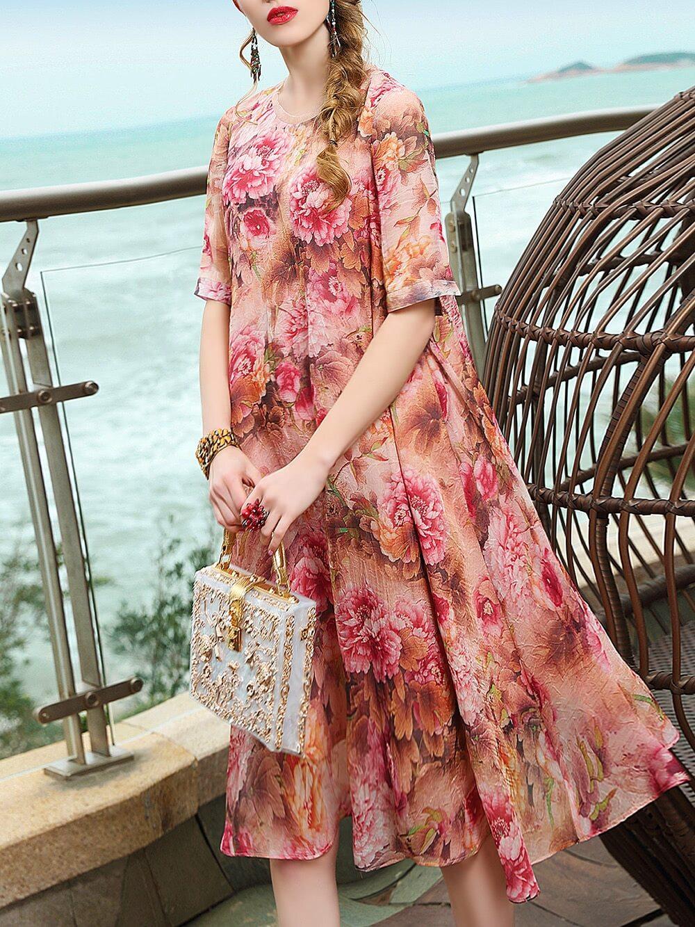 Фото Flowers Print Shift Dress. Купить с доставкой