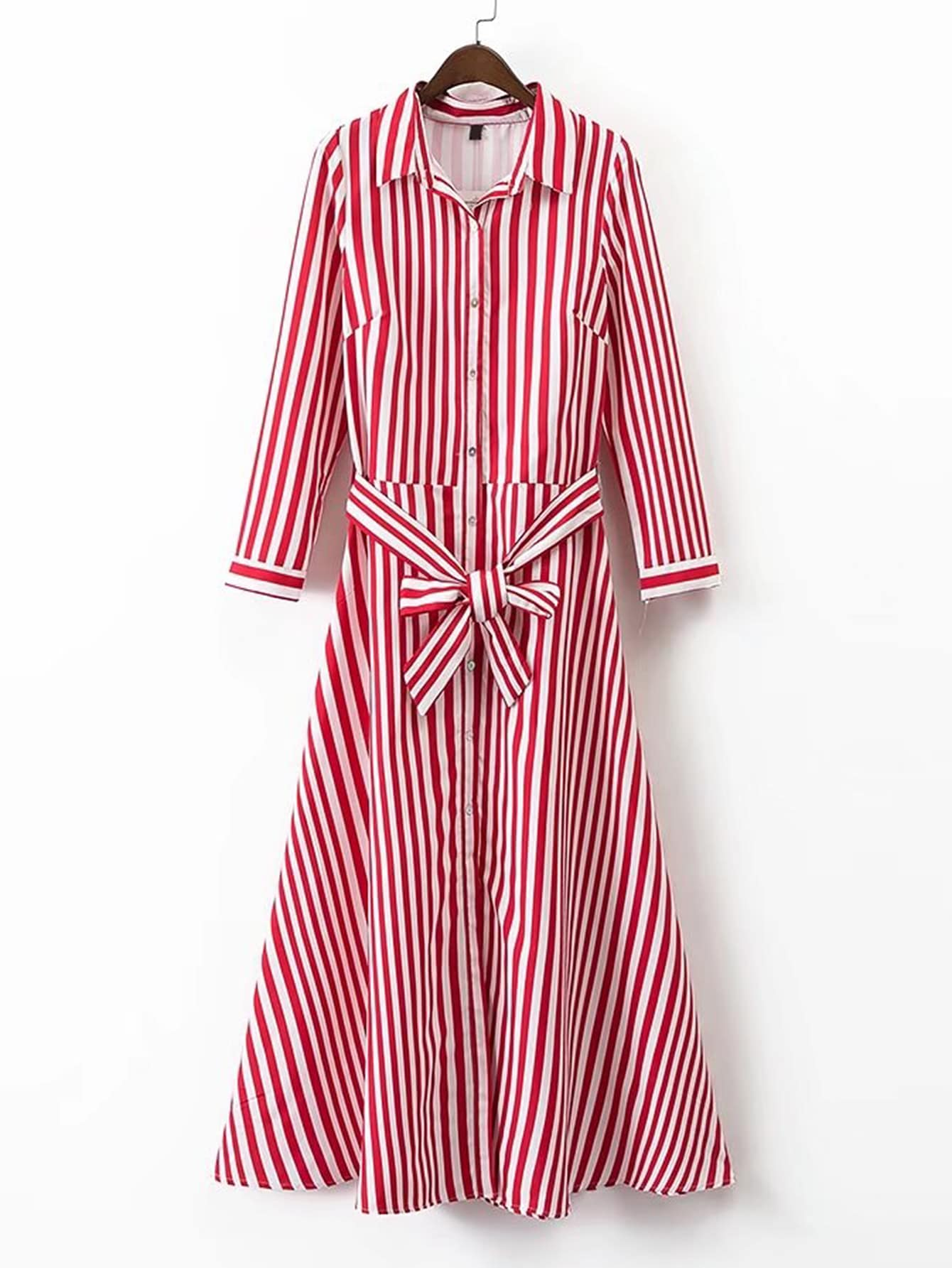 Vertical striped tie waist a line shirt dress shein for Striped shirt with tie