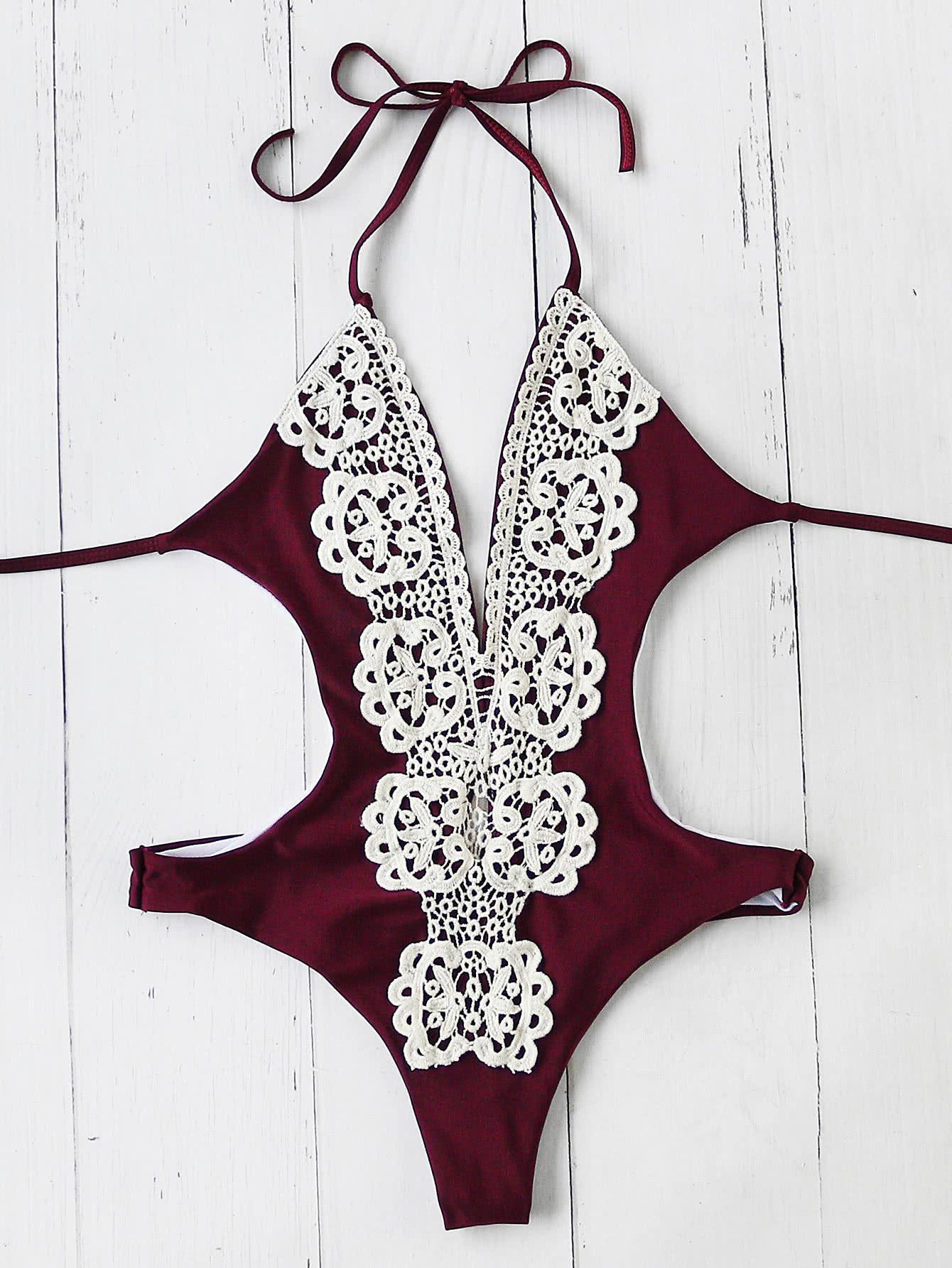 Contrast Crochet Plunge Neck Monokini halter cutout plunge neck monokini