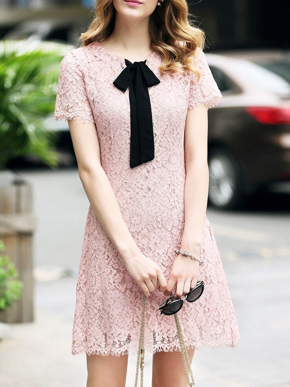 Фото Tie Neck Lace Shift Dress. Купить с доставкой
