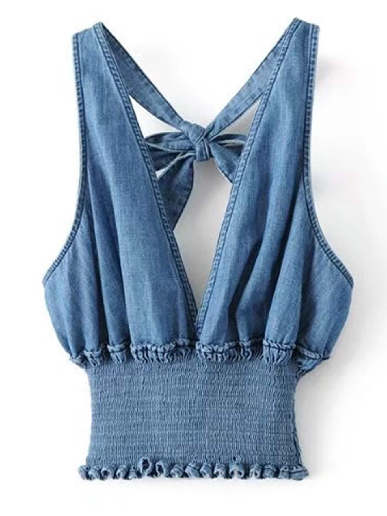 Plunging V-Neckline Knot Back Elastic Waist Denim Top zip up back knot plaid top
