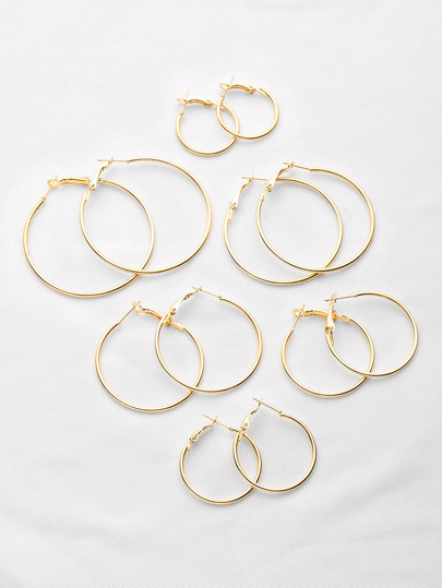 Plated Hoop Earrings Set